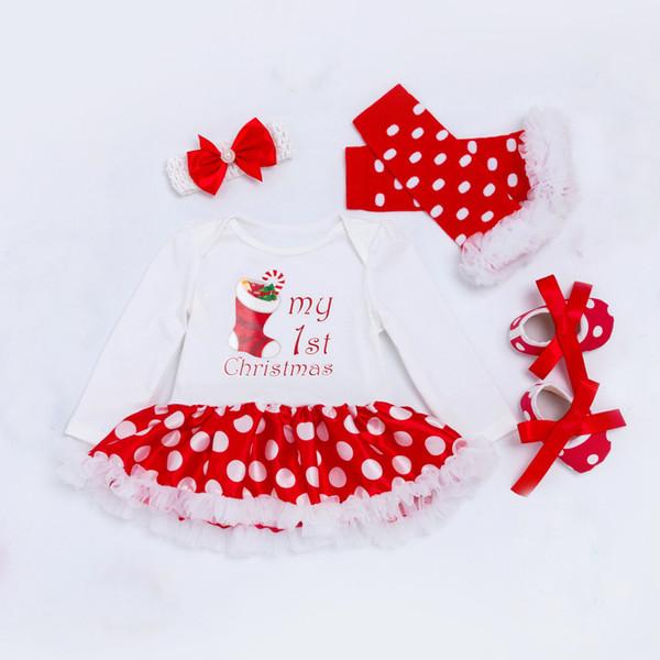 Weihnachten Baby Set Mädchen Kleidung Kostüm Strampler Tutu Kleid mit Stirnband