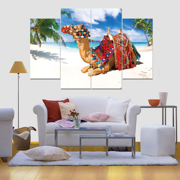 Camels on The Beach Frameless Paintings 4pcs No Frame Printd on Canvas Arts Modern Home Wall Art HD Print