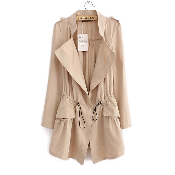 Donna Cardigan Casual Primavera Autunno Girocollo Colletto lungo Trench da donna Tasche a pieghe Design Outwear Coat