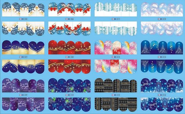 12 PACK/ LOT WATER DECAL NAIL ART NAIL STICKER FULL COVER CHRISTMAS XMAS SNOW FLAKE DEER BN205-216