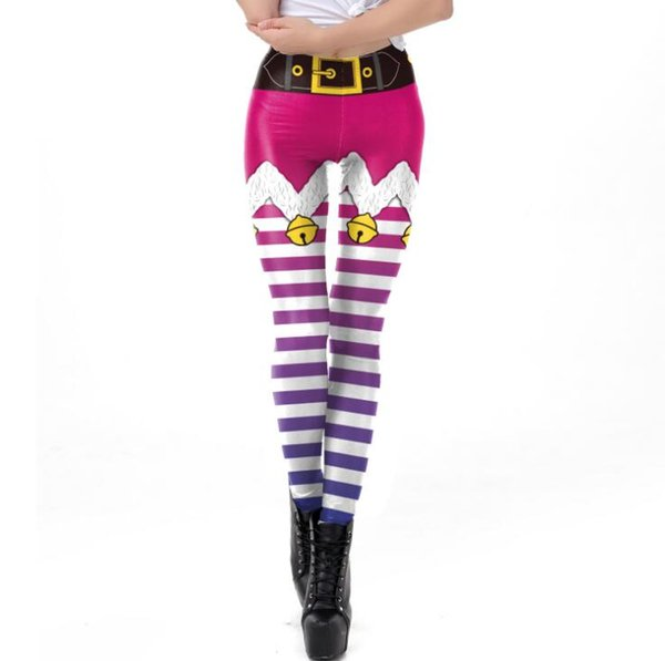 New women's Christmas costume red and white striped print tight mid-rise leggings