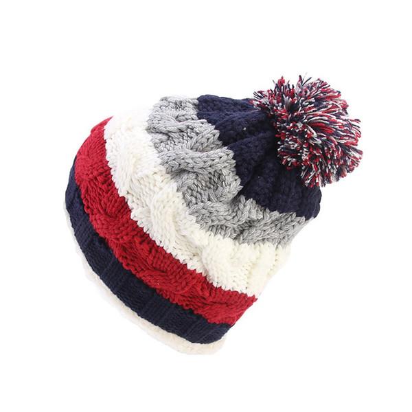 KLV Mujeres Soft Stretch Knit Rainbow Stripe Casual sombrero al aire libre Cálido Crochet Lana Ski Slouchy Fitted Acrílico nieve deportes z1004