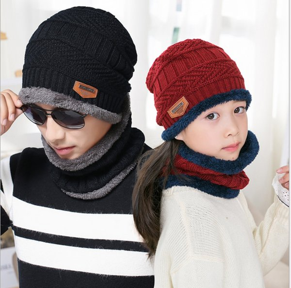 Winter Beanie Scarf Set For Adult Kids Windproof Hat Neck strap Warm Fleece Scarves Skull Caps Unisex Knited Cap Neckerchief Outdor Snapback