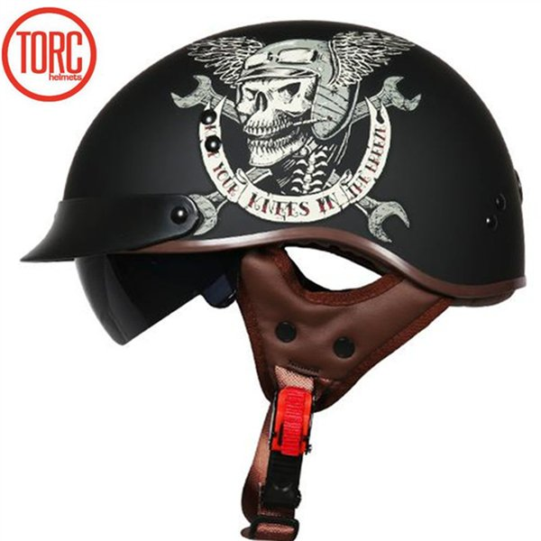 Skull design motorcycle helmet DOT approved half helelmet TORC T55 series motobike helmet for adults mand and woman