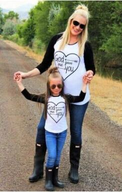 Free shipping-Spring 2018 long-sleeve printed T-shirt for parents and children