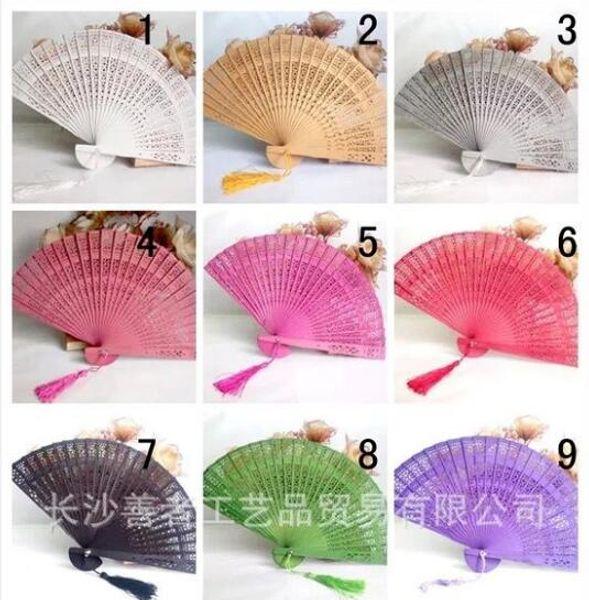 Chinese Style Wedding Favors Gift Fans Sandalwood Folding Cutout Wood Hand Craft Fan+ DHL Free Shipping 2018 Wedding Bridal Fans
