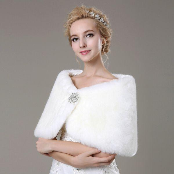 2018 Fall Winter Wedding Wraps Warm Faux Fur Bridal Shawl Wedding Bolero Shrugs Bridal Wrap Women Shawl for Wedding Events Party