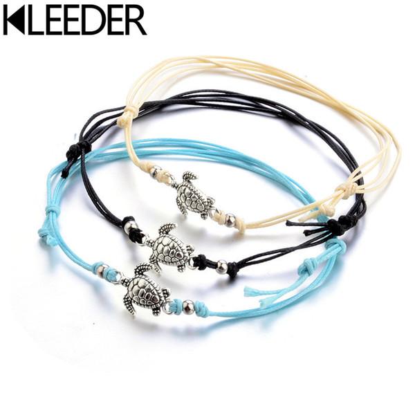 KLEEDER Boho Anklet for Women Black White Wax String Bohemia Turtle Tortoise Lacing Foot Beads Bracelet Fashion Beach Jewelry