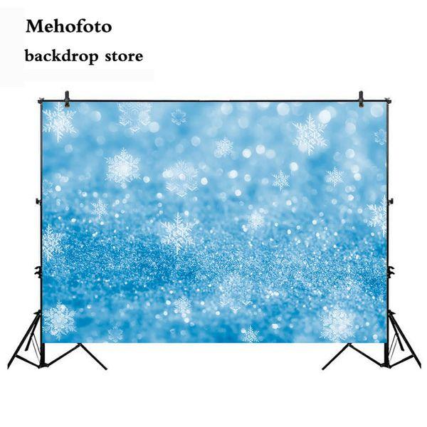 all'ingrosso Snow Glitter Fotografia Sfondo Bokeh sfondo blu per Photo Booth Studio puntini di Natale blu fiocco di neve 925