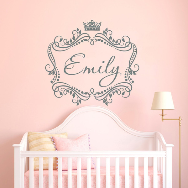 Baby Girls Name Custom Made Wall Decal Princess Crown Vinyl Decal Sticker  For Living Room Kids Room Home Wall Decoration Home Decals Walls Home Decor