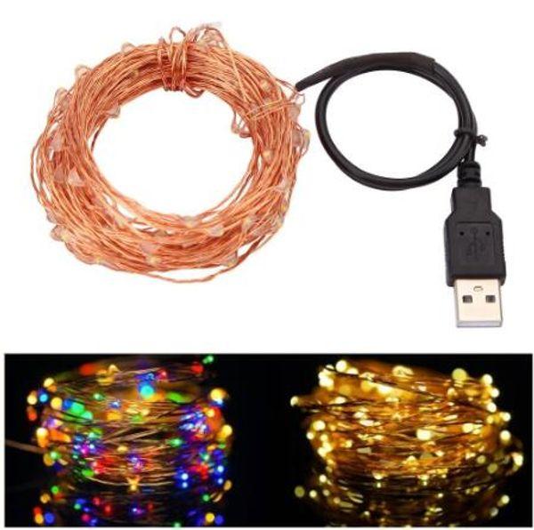 10 Mt 33FT 100led USB Led Kupferdraht Lichterketten Lichterketten Wasserdicht für Weihnachtsfest Hochzeit Girlande Dekoration