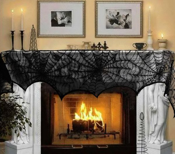 Halloween Party Decoration Halloween Spider Web Lace Table cloth Fireplace Cloth Window Curtain 18x96 inch Halloween Party home Decoration