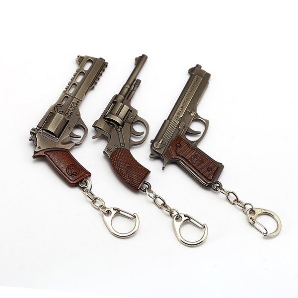 J Store Game PUBG Keychain P92 Gun Model Key Ring Holder 8cm Pendant Stranger Things Key Chain Kids Gifts Men Chaveiro Wholesale
