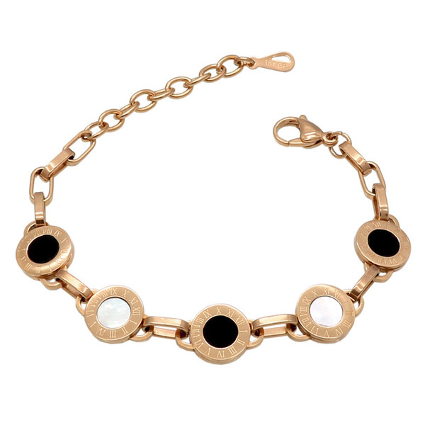Fashion Gorgeous Gold /Silver/Rose Color Roman numerals White Shell Black Resin Charm Bracelet Wedding Party Beads Bracelets For Women
