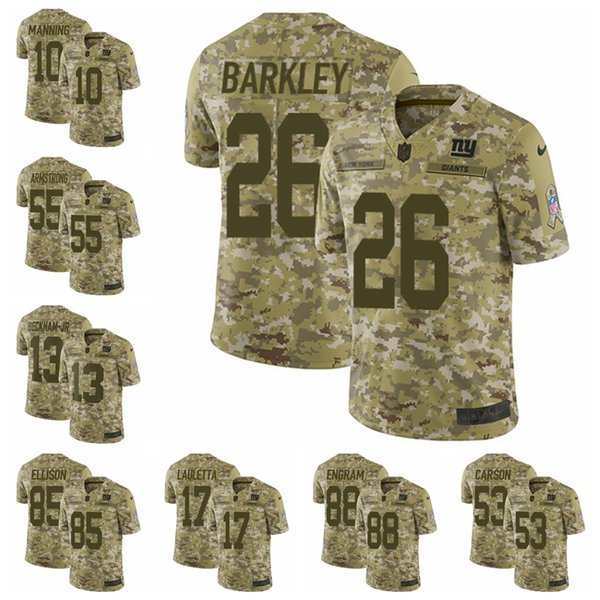 brand new 9f467 c483e 2019 New York Camo Giants Limited Football Jersey 2018 Salute To Service 26  Saquon Barkley 13 Odell Beckham Jr 21 Landon Collins From Goodtopnew5, ...