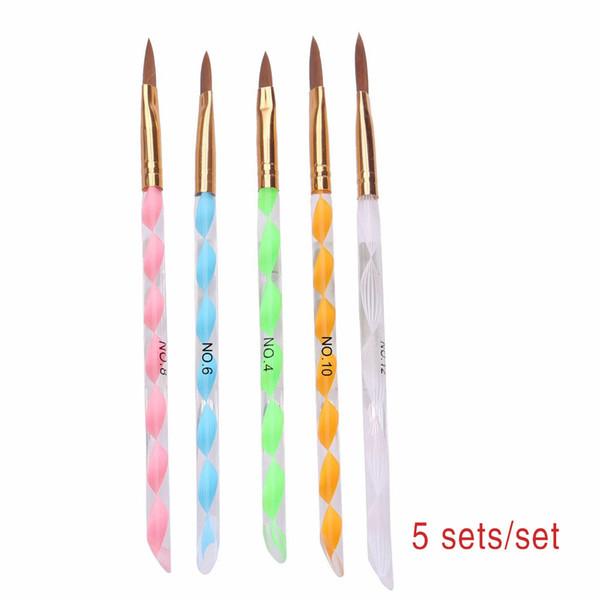 Stylo en cristal de cristal en spirale avec poignée en or 5 pcs Pinceau à ongles en spirale de stylo à ongles en cristal de stylo professionnel