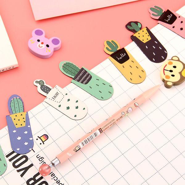3 pcs/pack Growing Cactus Magnetic Multi-function Bookmark Paper Pencil Clip School Office Supply Escolar Papelaria