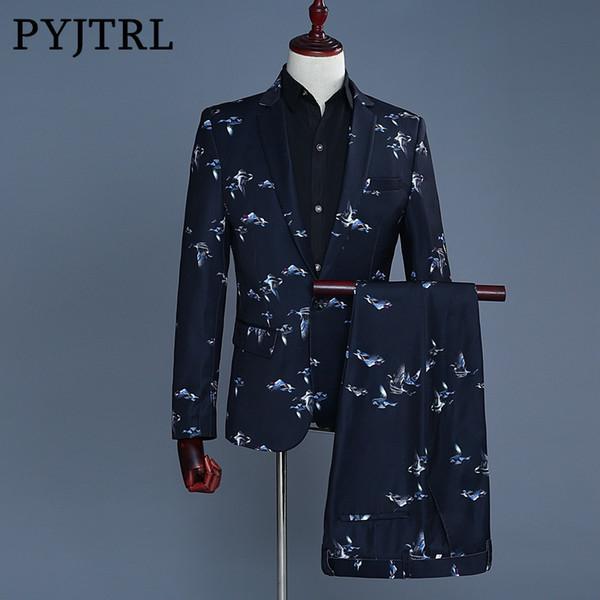 PYJTRL 2018 New Style Tide Men Fashion Navy Blue Birds Print Casual Slim Fit Suits Costume Homme Jacket Pants Groom Wedding Suit