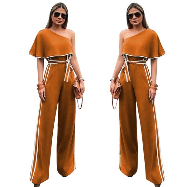 Ruby's Closet hot selling women one shoulder jumpsuits belt wide leg loose ladies party wear rompers side strap rompers ALS013