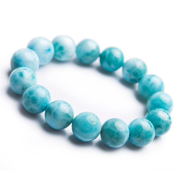 15mm echte blaue natürliche Larimar Armband Heilung Kristall Edelstein große runde Perle Stretch Naturstein Armband