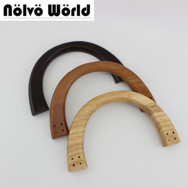 5 pair=10 pieces,3 Colors 19X11cm 4 Holes Each Side,Wood Bag Handles,Sewing Handmade Women Bag Purse Handle