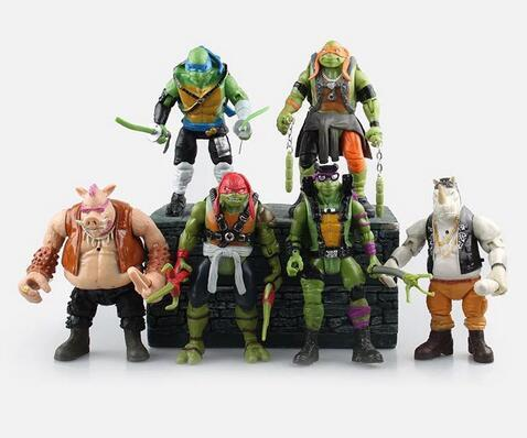 6pcs/LOT Model toys Action & Toy Figures Turtles model Animation furnishing articles