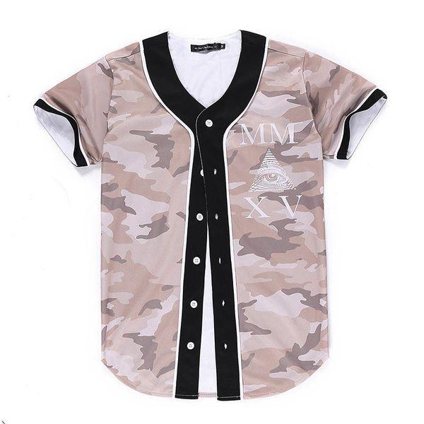 Wholesale Free Shipping Fashion Men baseball Jersey harajuku style Tee shirts 3d print Baseball short sleeve summer V-Neck t shirt