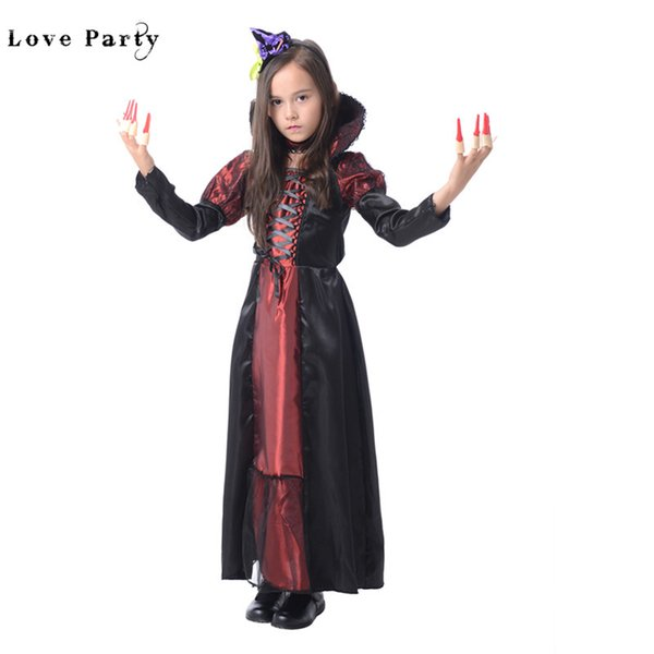 Witch Vampire Princess Dress Children Halloween Party Cosplay Costumes For Kids Girls Fancy Christmas Carnival Clothes