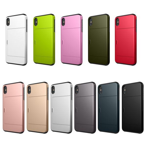Étui mince à carte à glissière pour iPhone XR XS XS Max 8 Plus 7 7 Plus 6 6 S 5S SE