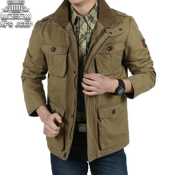 Plus Size 8XL Loose Uomo Giacche Nuovo 2018 Marca AFS 100% cotone naturale Caldo autunno e inverno Mens cappotti business casual