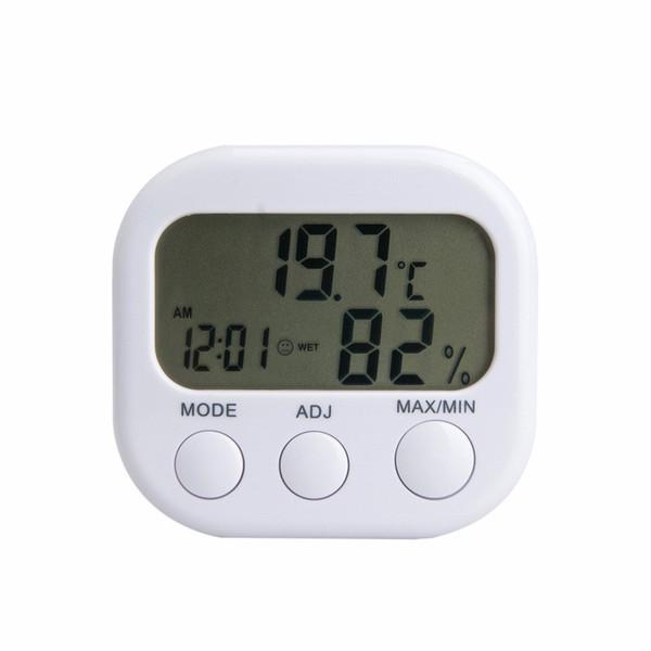 Digital-LCD-Thermometer-Feuchtigkeits-Meter-Hygrometer-Luft-Temperatur-Uhr TA638 Weiß