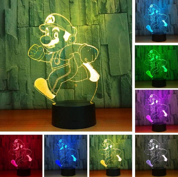 Acheter 2018 Chaud Dessin Animé Courant Super Mario Bros Action Figure Jouet 7 Couleurs Changement Décor Led Usb 3d Touch Night Light Accueil Party