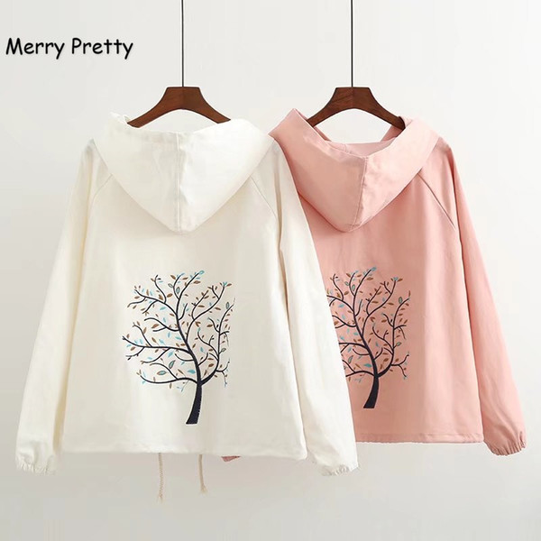 MERRY PRETTY Autumn Women Jacket Mori Girl Cute Tree Embroidery Hooded Long Sleeve Casual Pink Jackets Coat Female Outerwears
