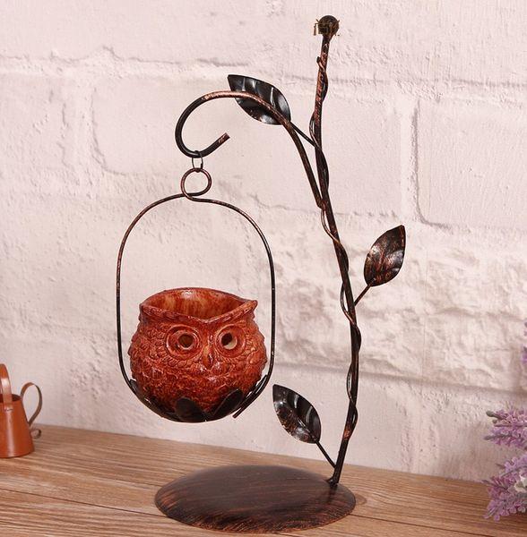 Metal Owl Candlestick Hurricane Lantern for Christmas Decoration Candle Holder Vintage Décor Candle Lantern Centerpiece