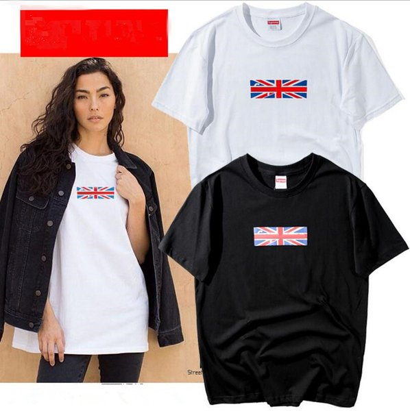 18s Europa Fashion High Quality Summer box Inghilterra bandiera logo Skateboard T-shirt Top uomo donna Street Luxury Cotton T Shirt Casual Tee