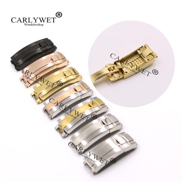 Correa CARLYWET 9 mm x 9 mm de piel del cepillo polaco reloj de acero inoxidable Correa de la hebilla de deslizamiento de bloqueo de cierre de acero para la pulsera del cinturón de goma