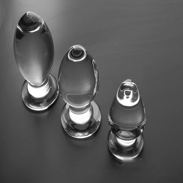 Big glass anal plug Transparent crystal glass butt plug 3 size Optional anal sex toys glass buttplug sex toys for men Y1892803