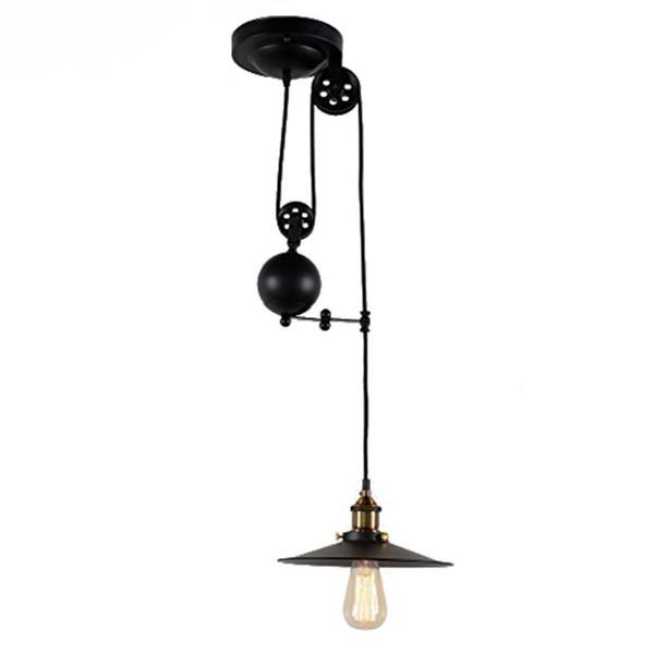Retrátil Pendurar Luz Loft Industrial Do Vintage Luzes Pingente Ajustável Max Drop 1.5 m Lâmpadas De Fio, diâmetro 26 cm 2 m single-cabeça