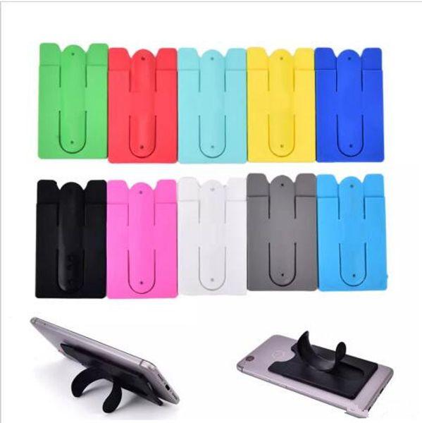 13 цветов универсальный портативный U-образный телефон стенд держатель 3 м наклейка сенсорный Силиконовый бумажник Банка слот для кредитных карт кронштейн для iphone X XS MAX XR