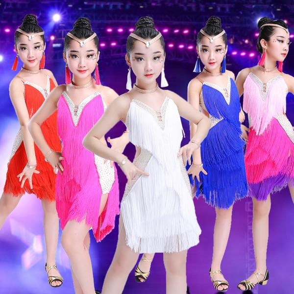 top popular 2018 sequins tassels latin dance dress for girls tango samba cha cha latin dance costume for girls Kids competition dress 2019