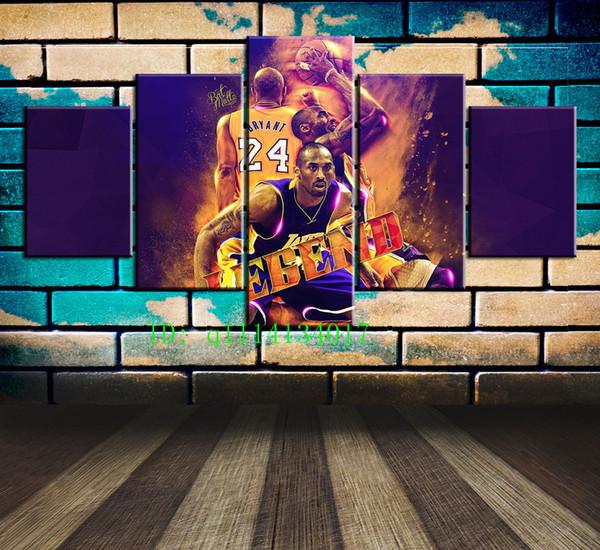 Kobe Bryant Legend, impresión en lienzo HD de 5 piezas Nueva pintura de arte de decoración del hogar / (sin marco / enmarcada)