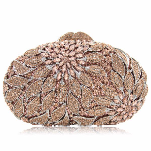 Lady Party Shine Diamonds Gold Socialite Women Evening Bag 2017 Hollow Out Metallic Petal Designer Hasp Clutch Flower Tote Bag