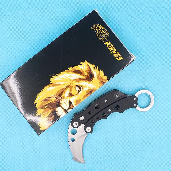 Top Quality New SR Karambit Claw Knife Flail Knives 440C Satin Blade Black G10 Handle EDC Pocket Knives Best Gfit
