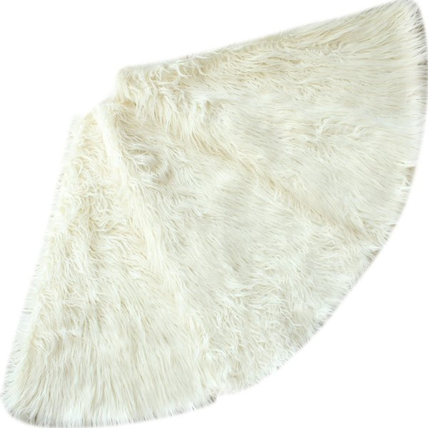 "Free Shipping Extra Large 40""/60"" Deluxe Mongolia Faux Fur Ivory/Silvery Christmas Tree Skirt P645"