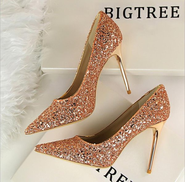 red high heel sequined cloth fashion weeding shoes designer shoes luxury shoes for lady and girl