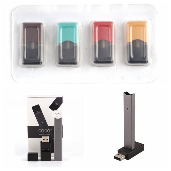 COCO E Cig Kits Device 220mAh Vape Battery Portable Vape Pen Starter Kit  Empty Pod Oil Cartridges Vape Pens Vaporizer E Cigar Starter Kit E  Cigarette