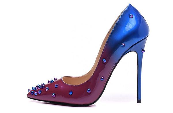 Clássico Rebites Mulher Bombas Gradiente Roxo Azul Pointy Stilettos Saltos Picos De Salto Alto Sexy Formal Sapatos de Noite Das Mulheres 10 CM / 12 CM