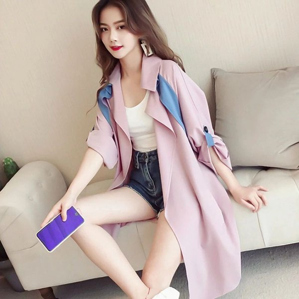 2018 Outono Plus Size Dust Coat Turn-down Collar Manga Longa Cardigan Outwear Tops Soltos Trench Coats Rosa C3673