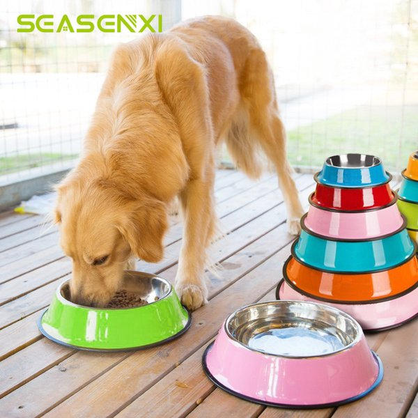 top popular 4 Size Stainless Steel Color Spray Paint Pet Dog Bowls Puppy Cats Food Drink Water Feeder Pets Supplies Non-slip Feeding Dishes 2020