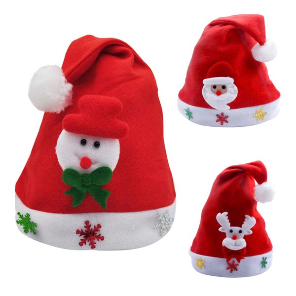 3PC 2019 Year Merry Christmas Gift Kids Children Christmas Decorations For Home Party Santa Hat Red Cap for Santa Claus Costume